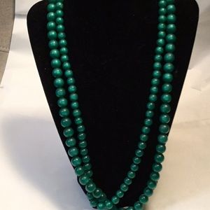 Vintage Green Beaded Two Strand Necklace
